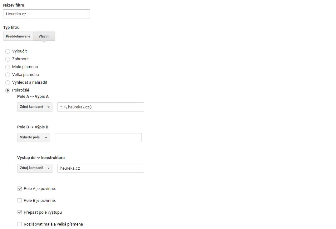Přesný návod pro e-shopy jak nastavit filtr pro sloučení Heureky do jednoho řádku (zdroje).