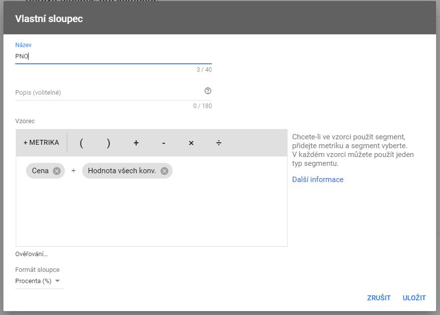 Návod pro e-shopy, jak nastavit vlastní sloupec PNO v Google Ads.