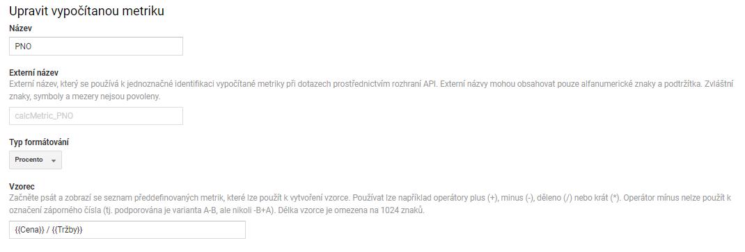 Návod pro e-shopy na nastavení vypočítané metriky PNO pro Google Analytics.