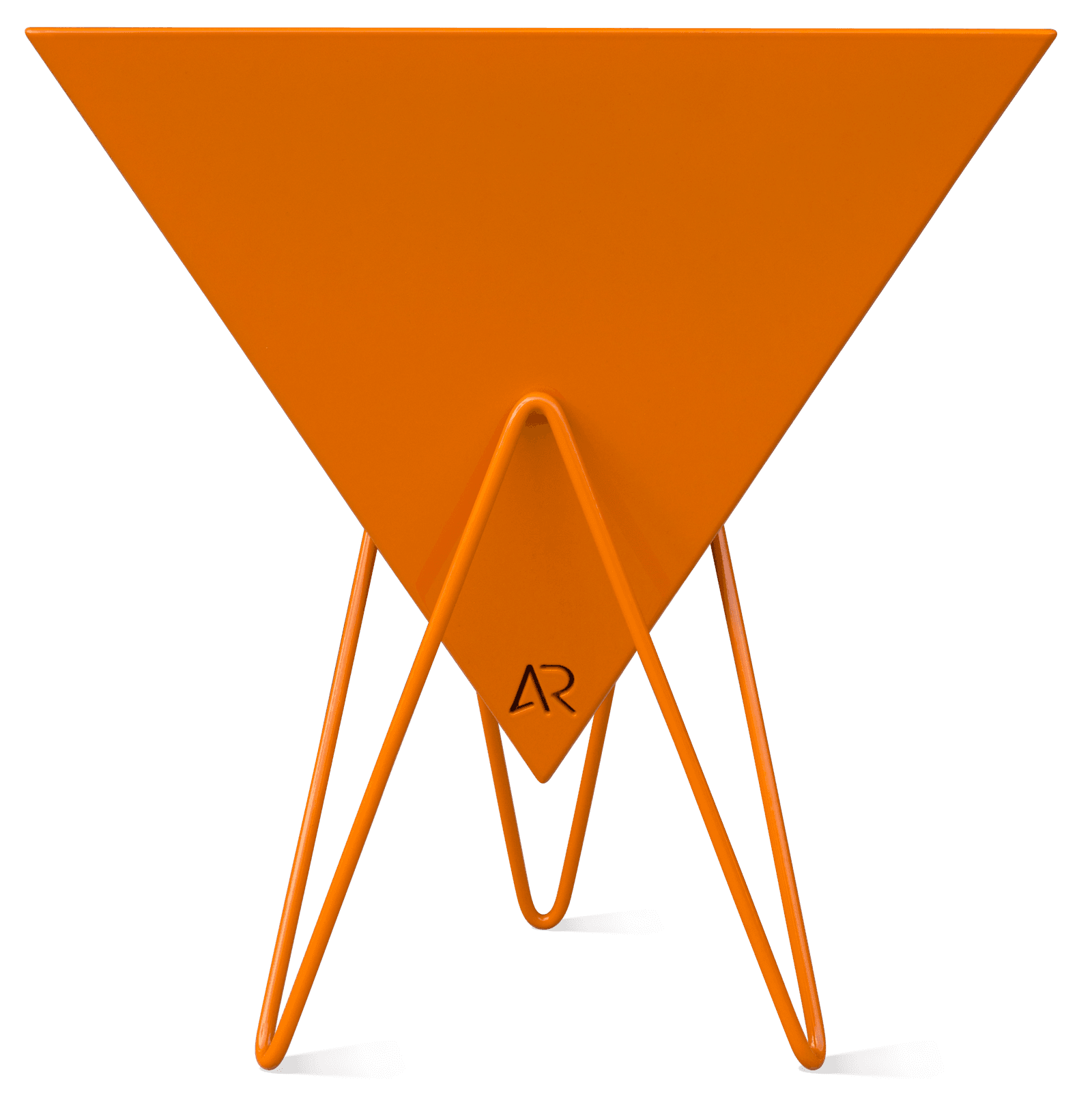 An orange triangle-shaped planter that is held up by hair pin legs