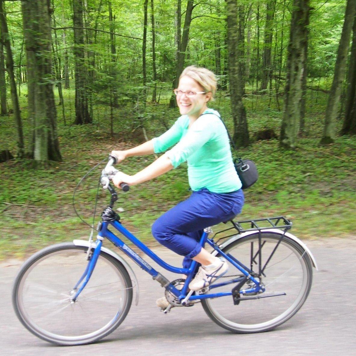 Morgan riding a bike.
