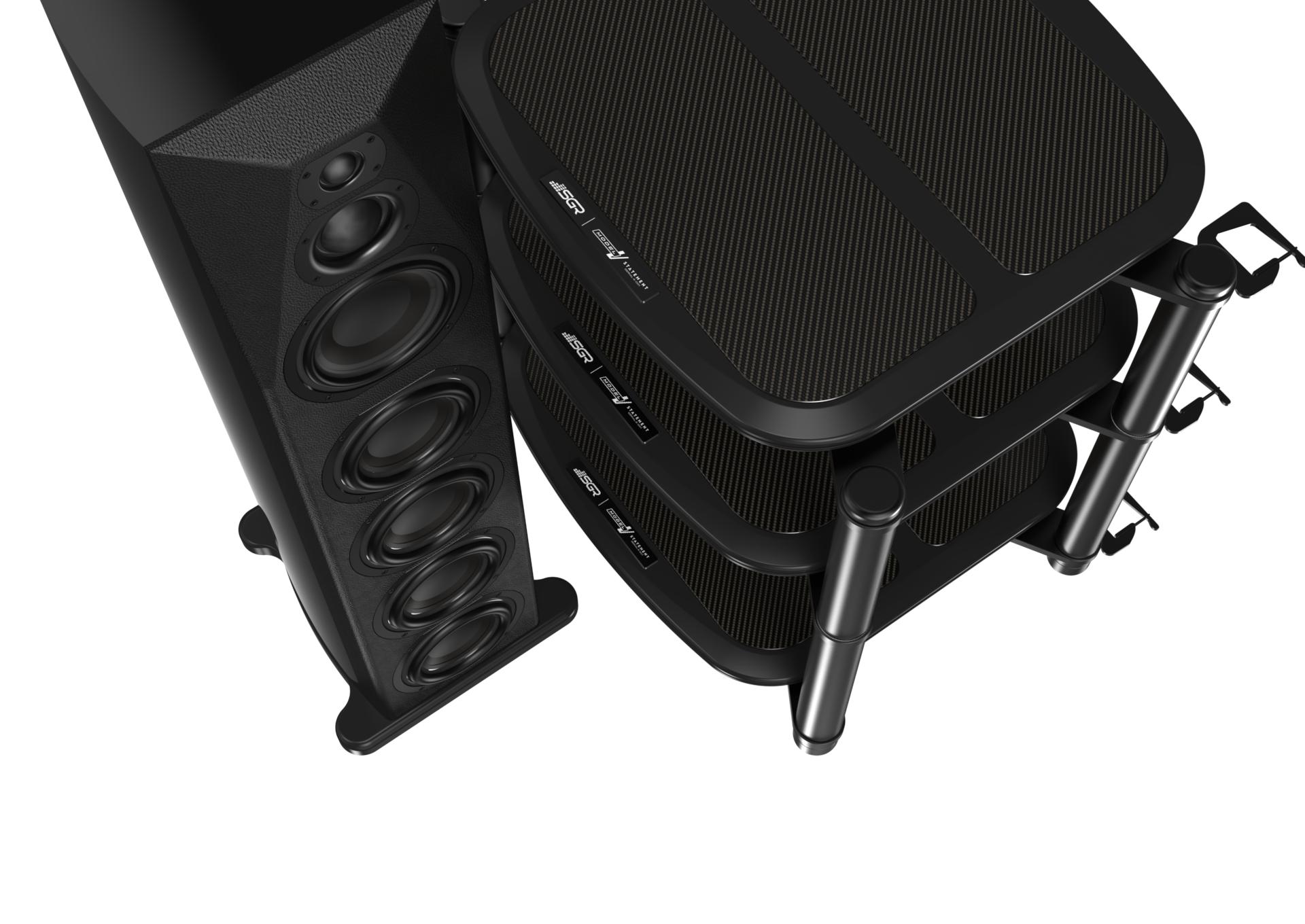 SGR Audio CX4F loudspeaker and Model V Statement hifi rack