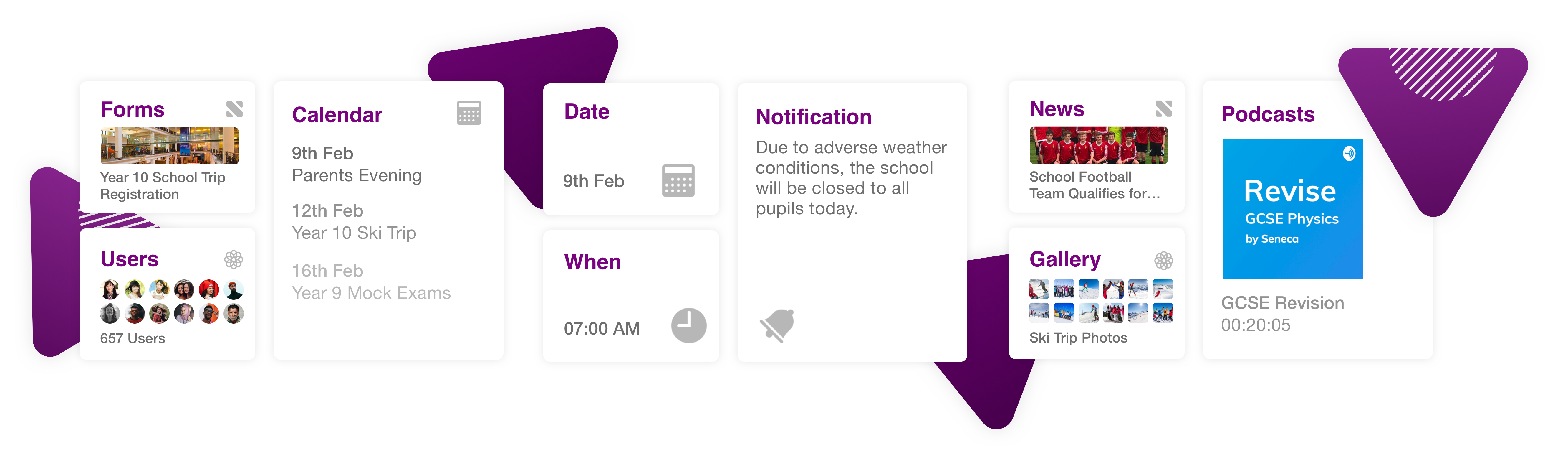 Share calendar events, messages and school news with an app for school.
