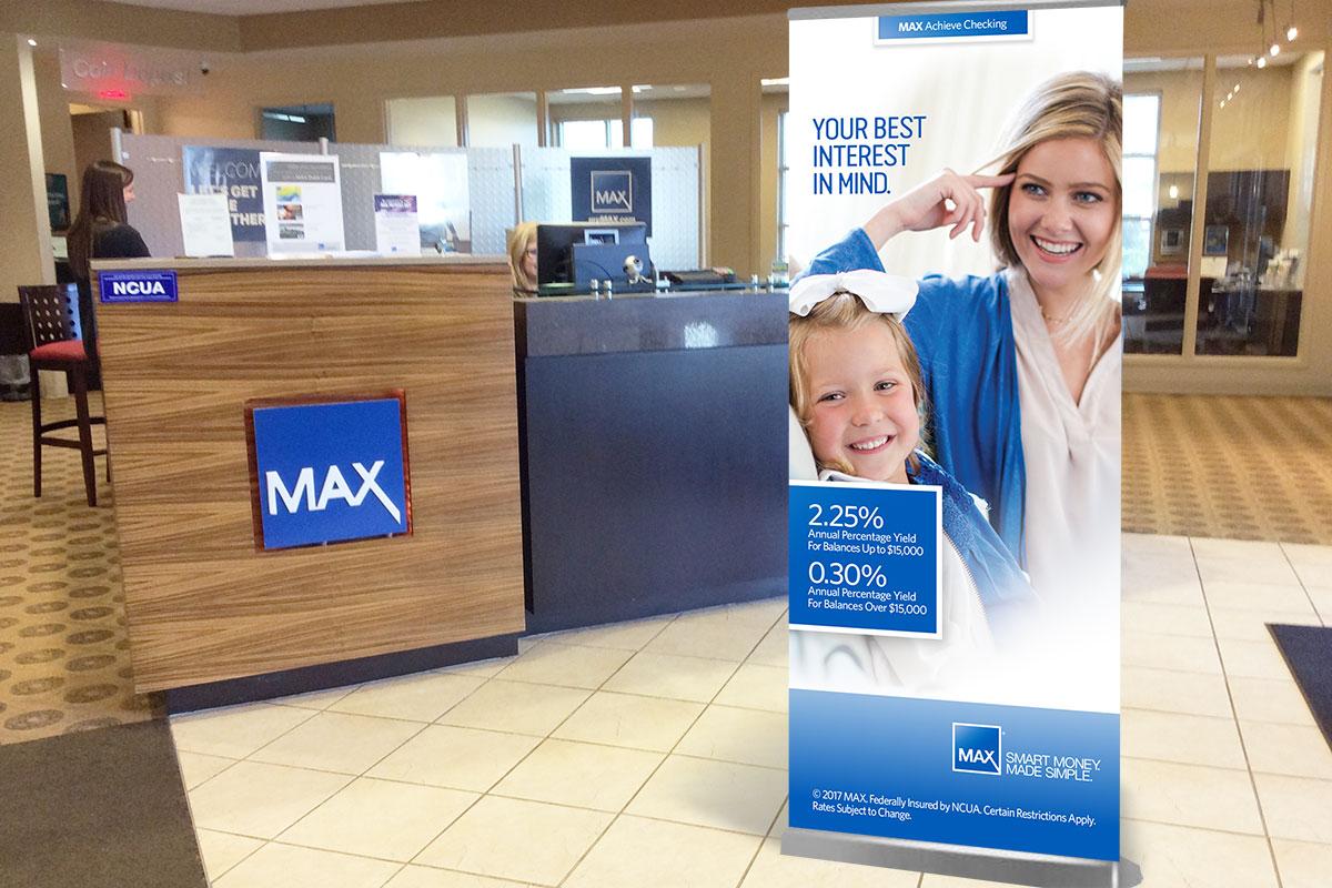 Max Credit Union retail display