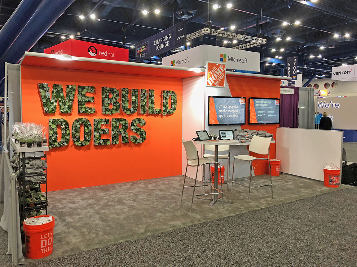 Home Depot — We Build Doers trade show booth Grace Hopper conference