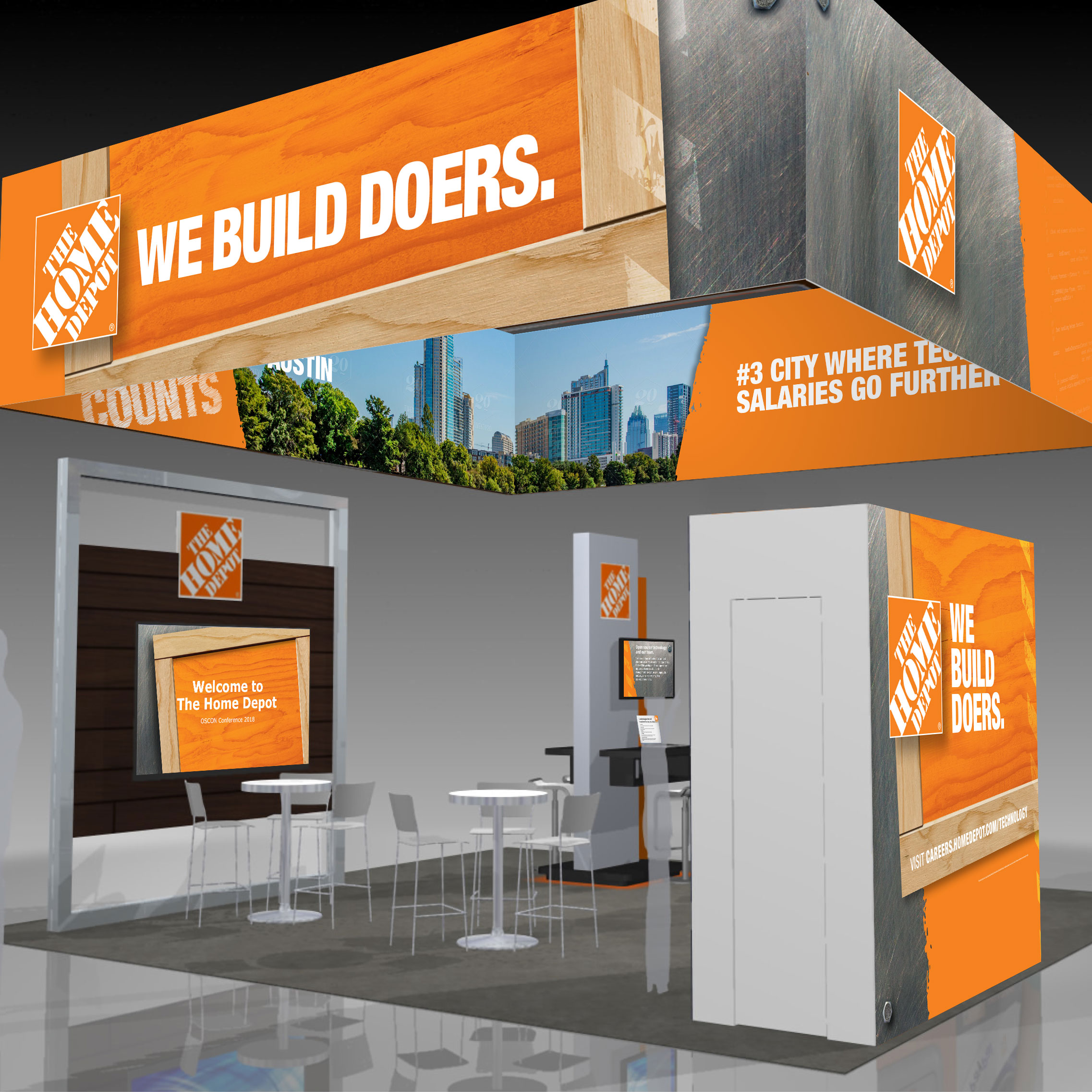 Home Depot — We Build Doers trade show booth OSCON