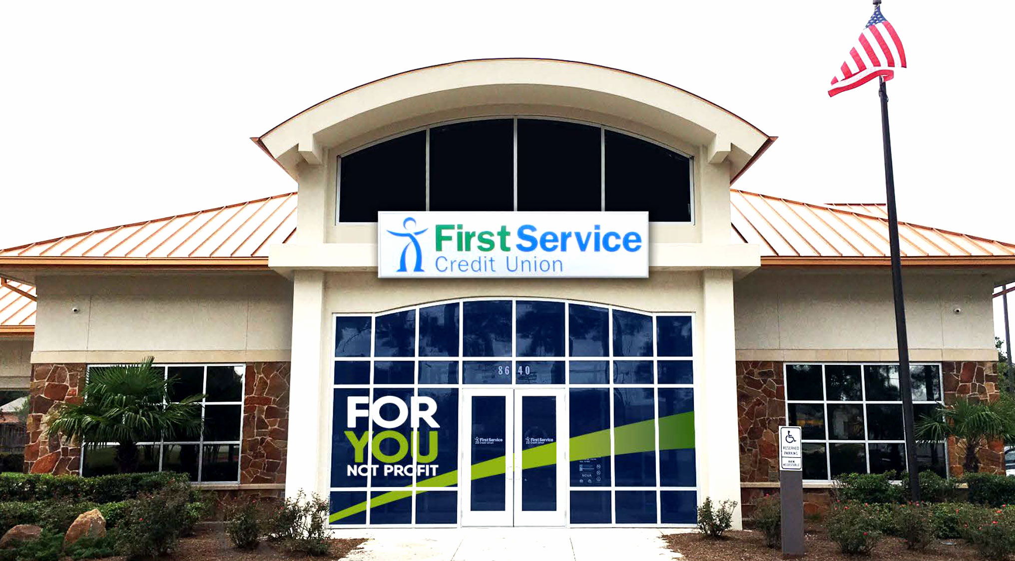 First Service Credit Union – branded retail entrance