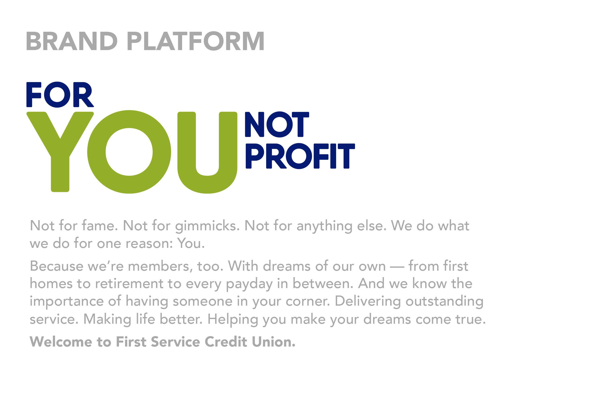 First Service Credit Union – brand platform statement