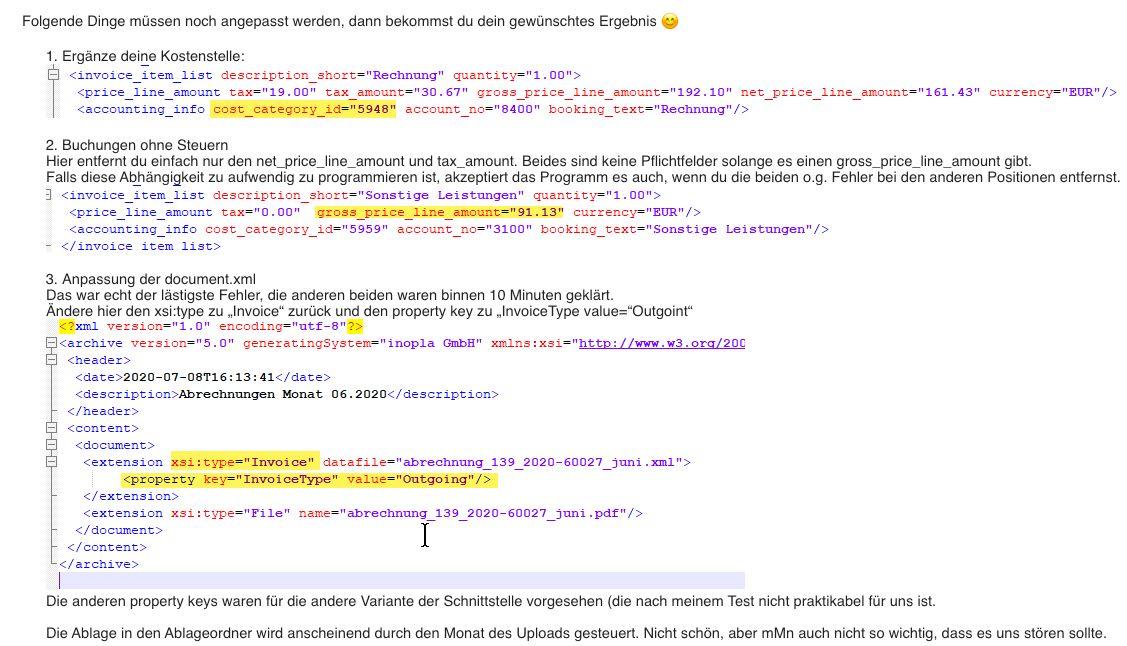 DATEV XML Schnittstelle online Beratung