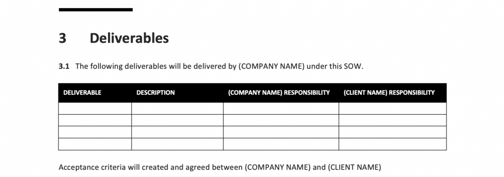 An example of the Deliverables section from the free TBW SOW Template