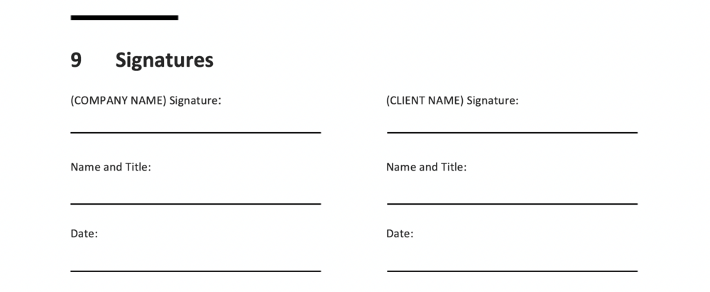 An example of a Signatures section from the free TBW SOW Template