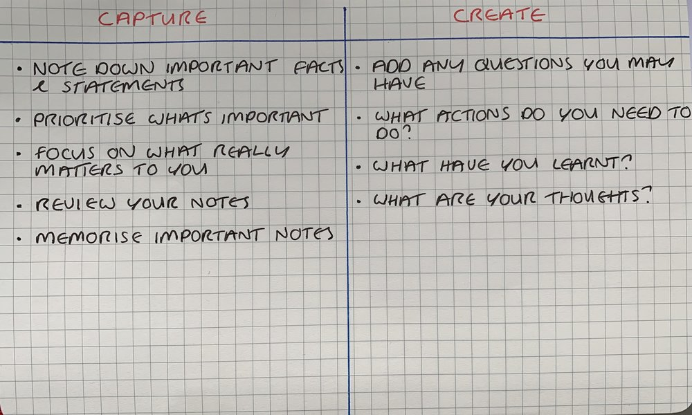 This note taking tip is quick and easy to do. Don't worry about how it looks, it's about the content.