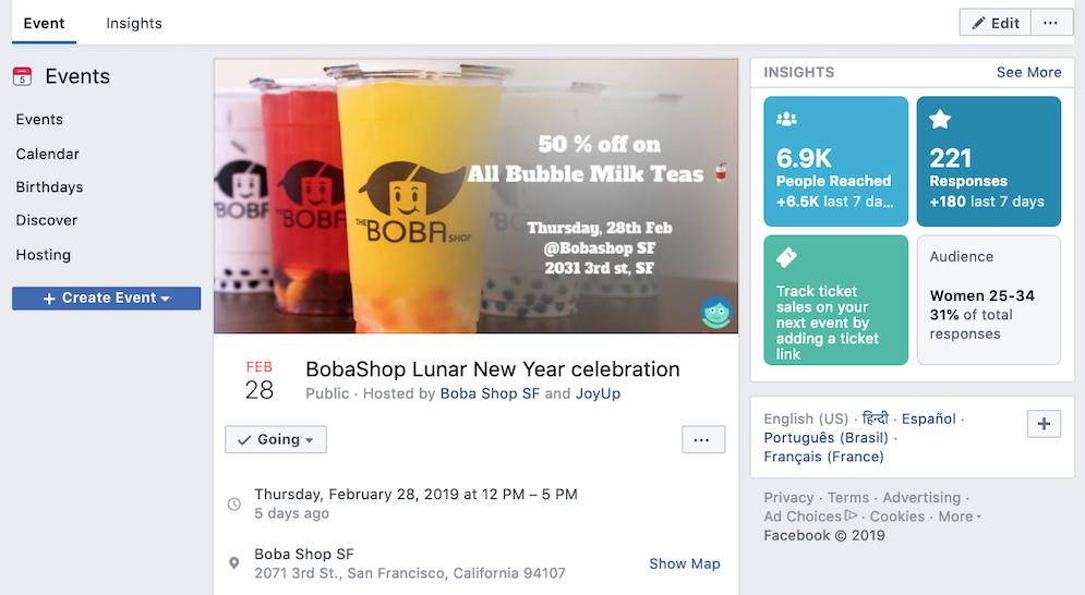 JoyUp Case Study: BobaShop SF Facebook Event