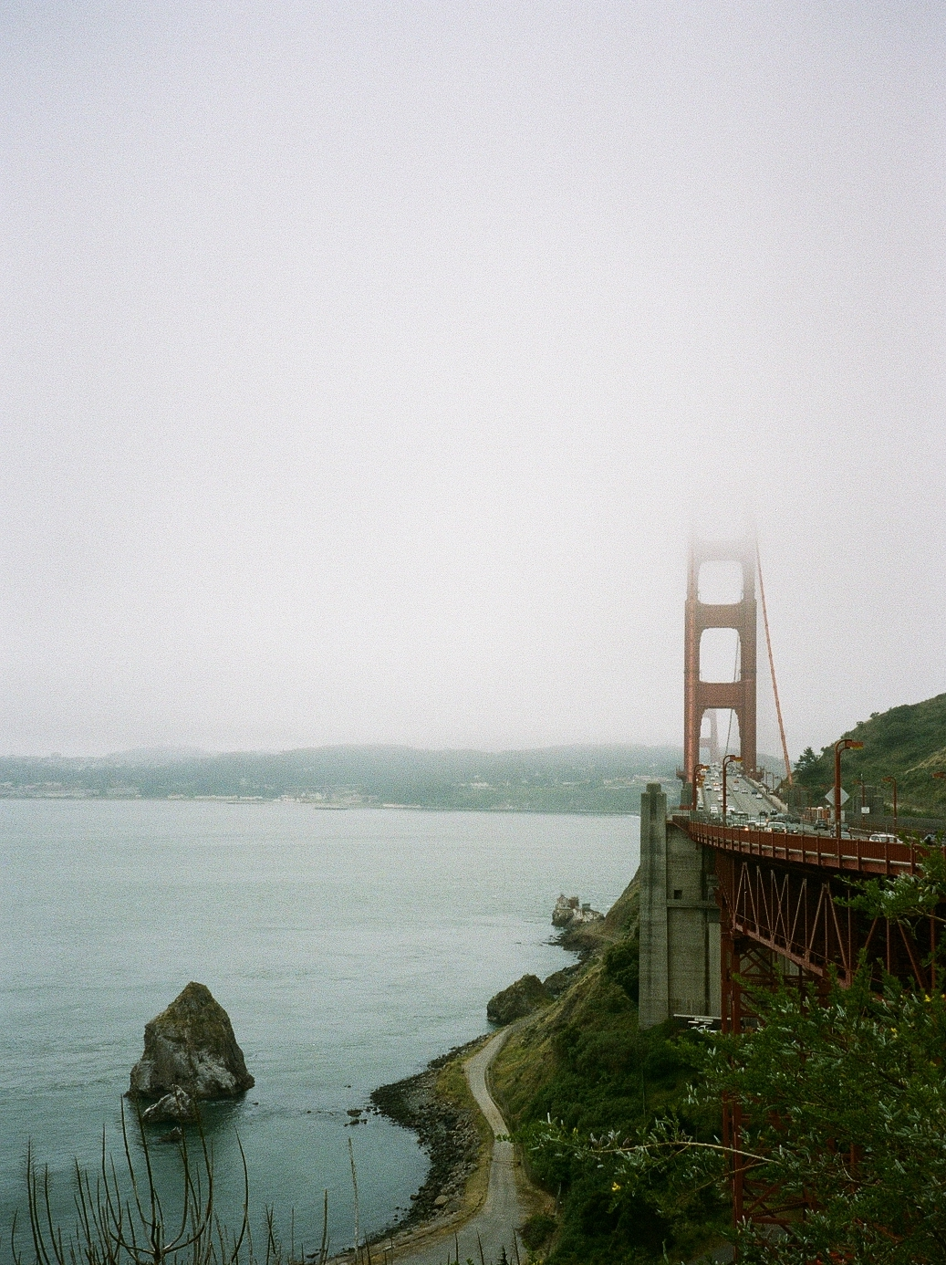 San Francisco Bridge film photo on a foggy day