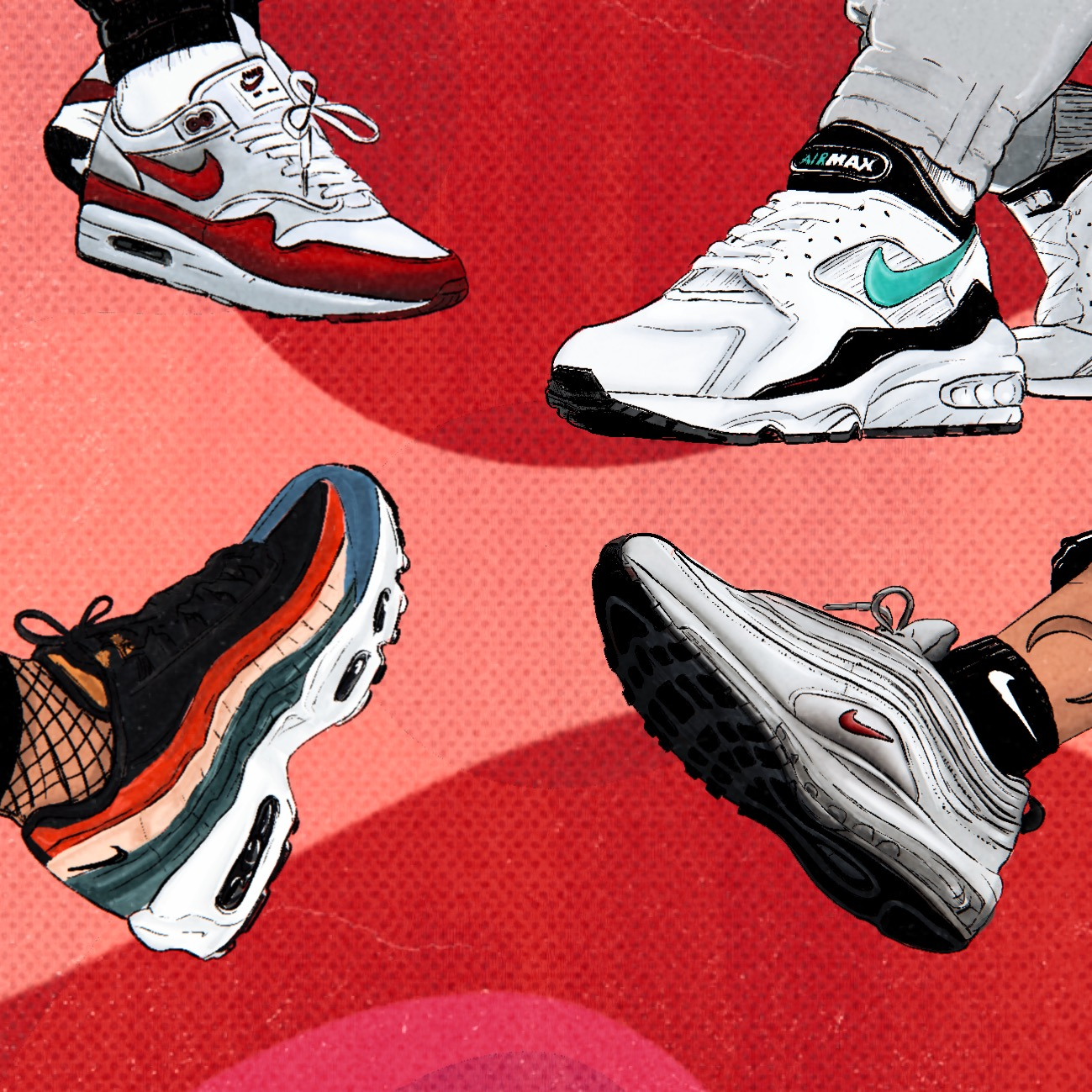 Four illustrations of a variety of Air Max's in one
