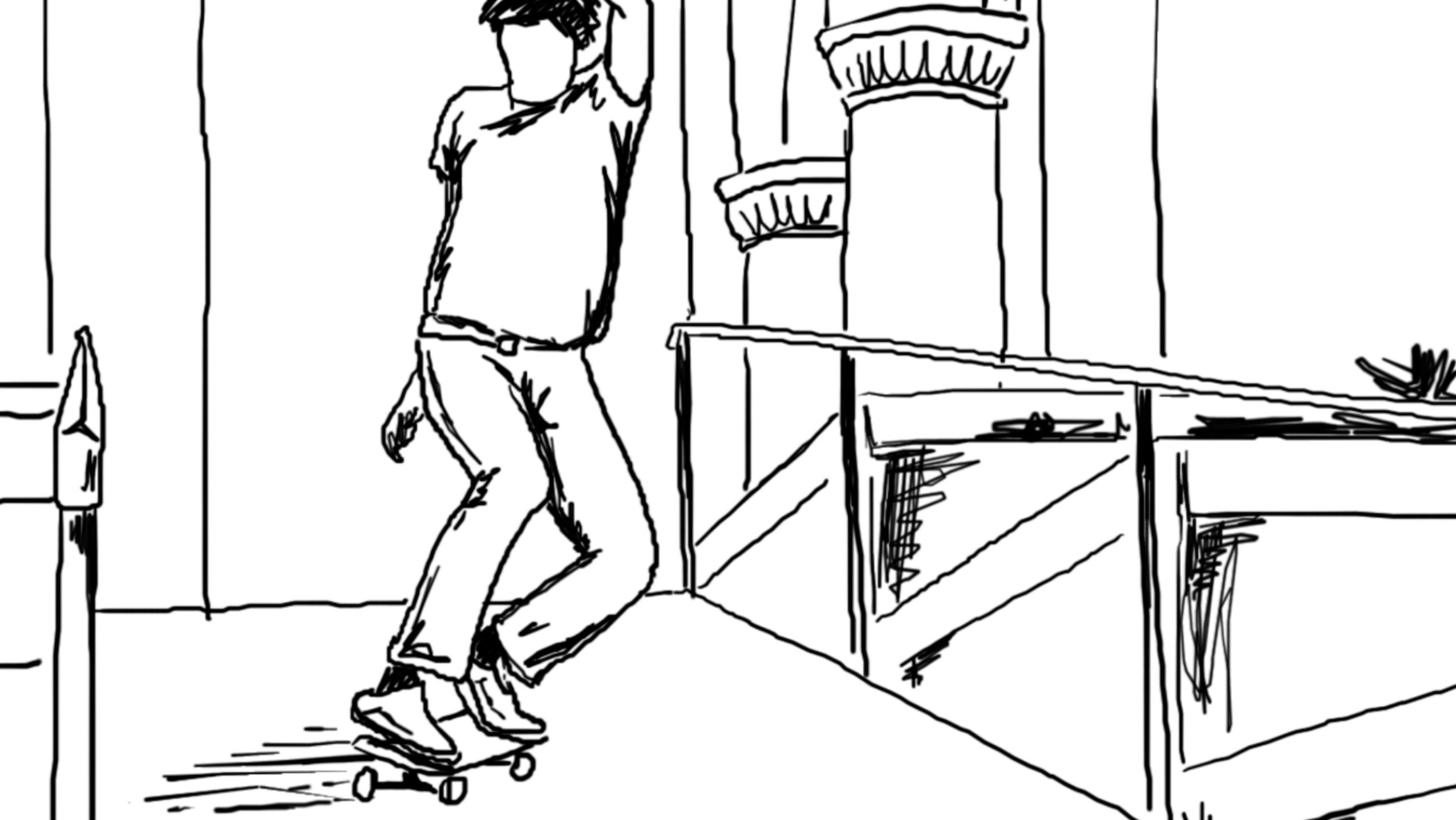 Screenshot of Dylan Reider skating illustration animation, 3/3