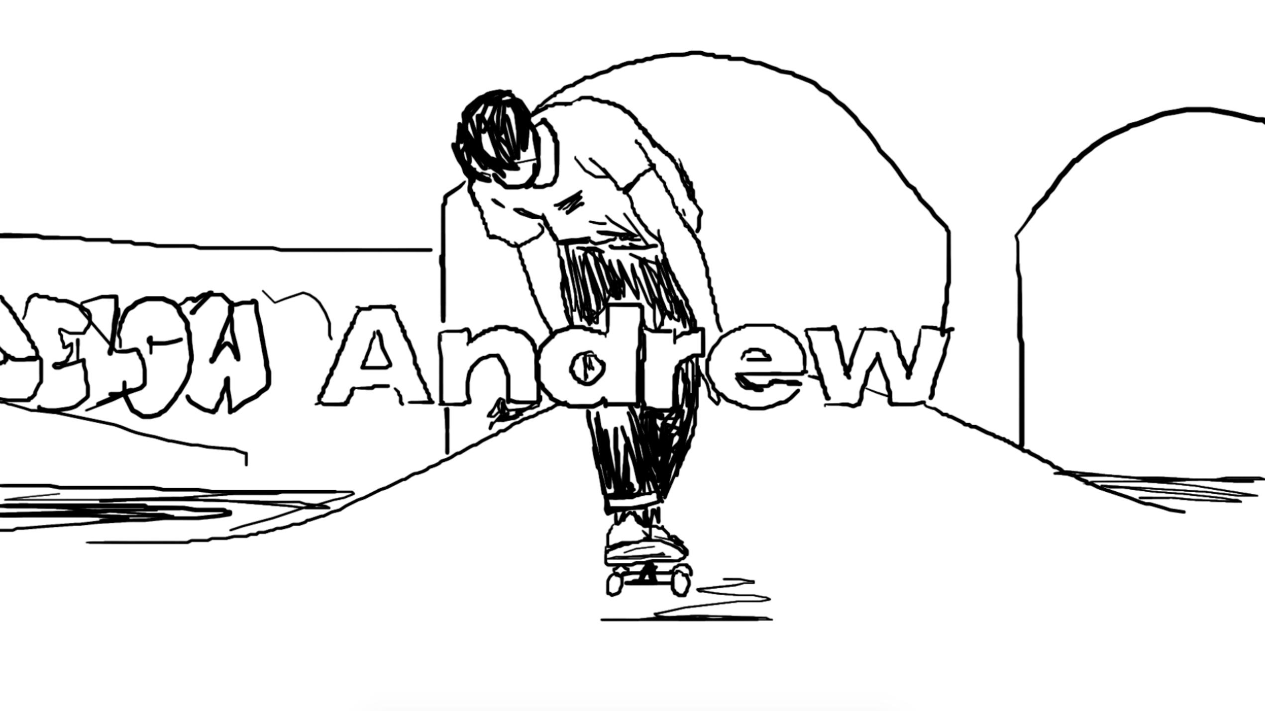 Screenshot of Dylan Reider skating illustration animation, 1/3