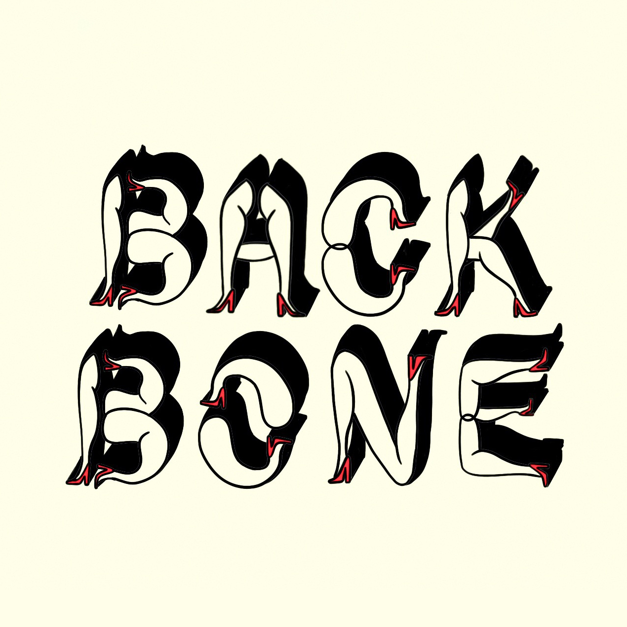 Backbone MIA, Name made out of leg illustrations