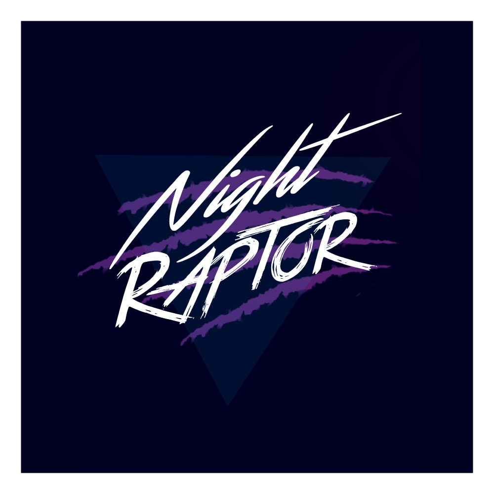 Night Raptor Music Official Logo with dark blue background and raptor scratches