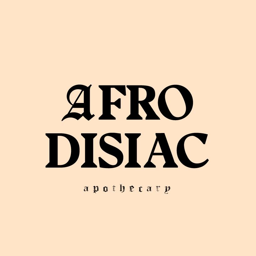 Afrodisiac apothecary logo on cream background