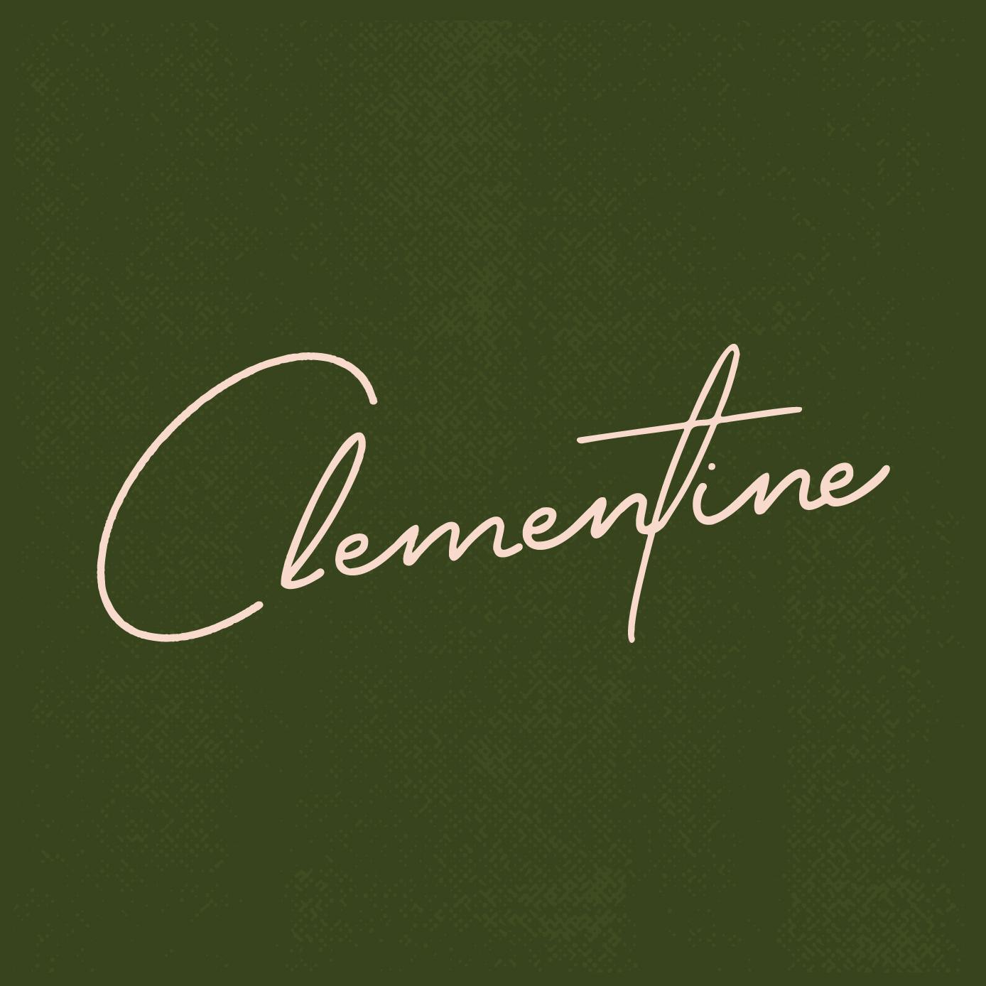 Clementine Script Logo on Green textured background