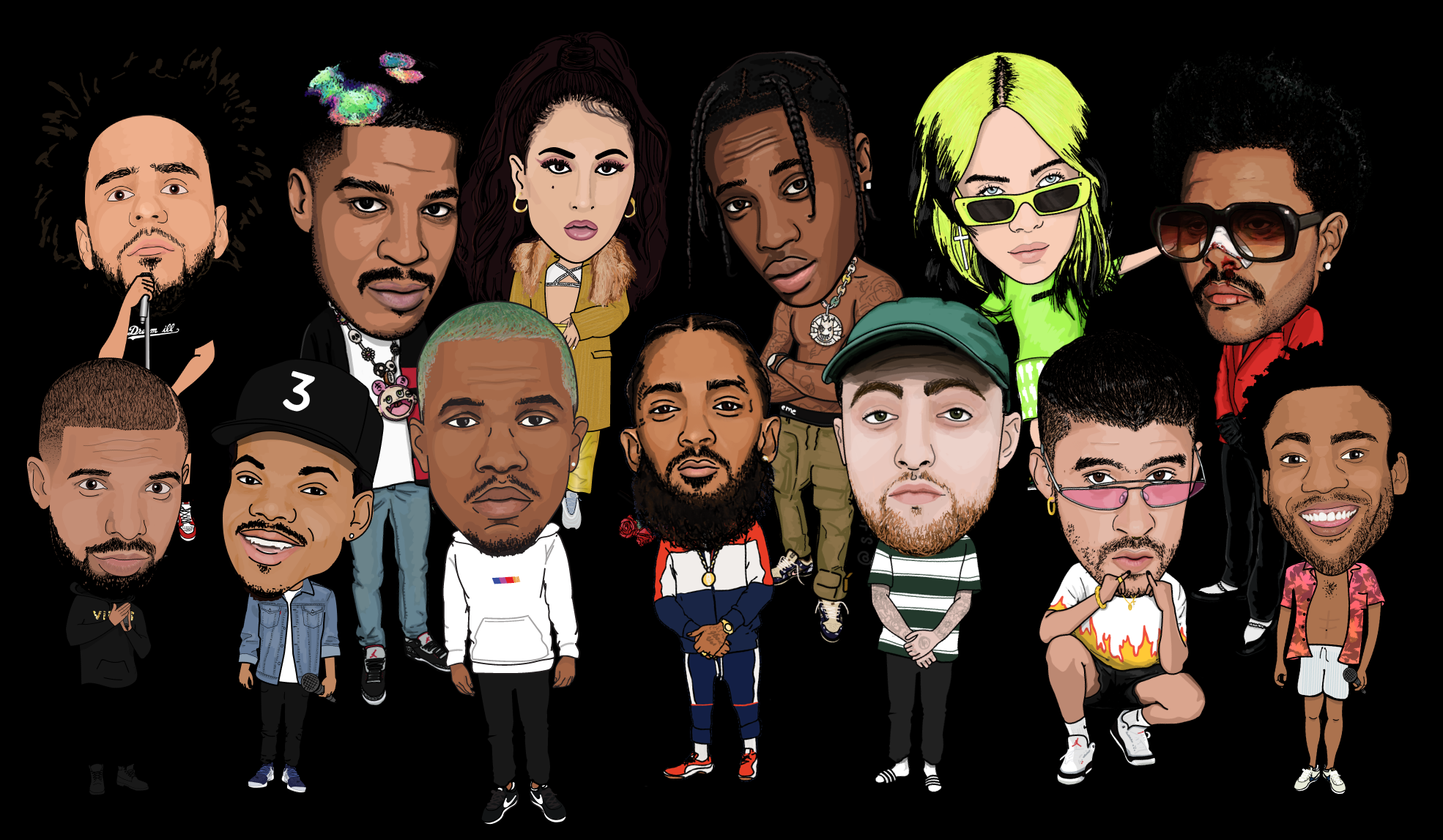 s.thetix illustrations, lil giants, featuring Billie Eilish, Frank Ocean, The Weeknd, Kid Cudi, Travis Scott, and Bad Bunny Cover
