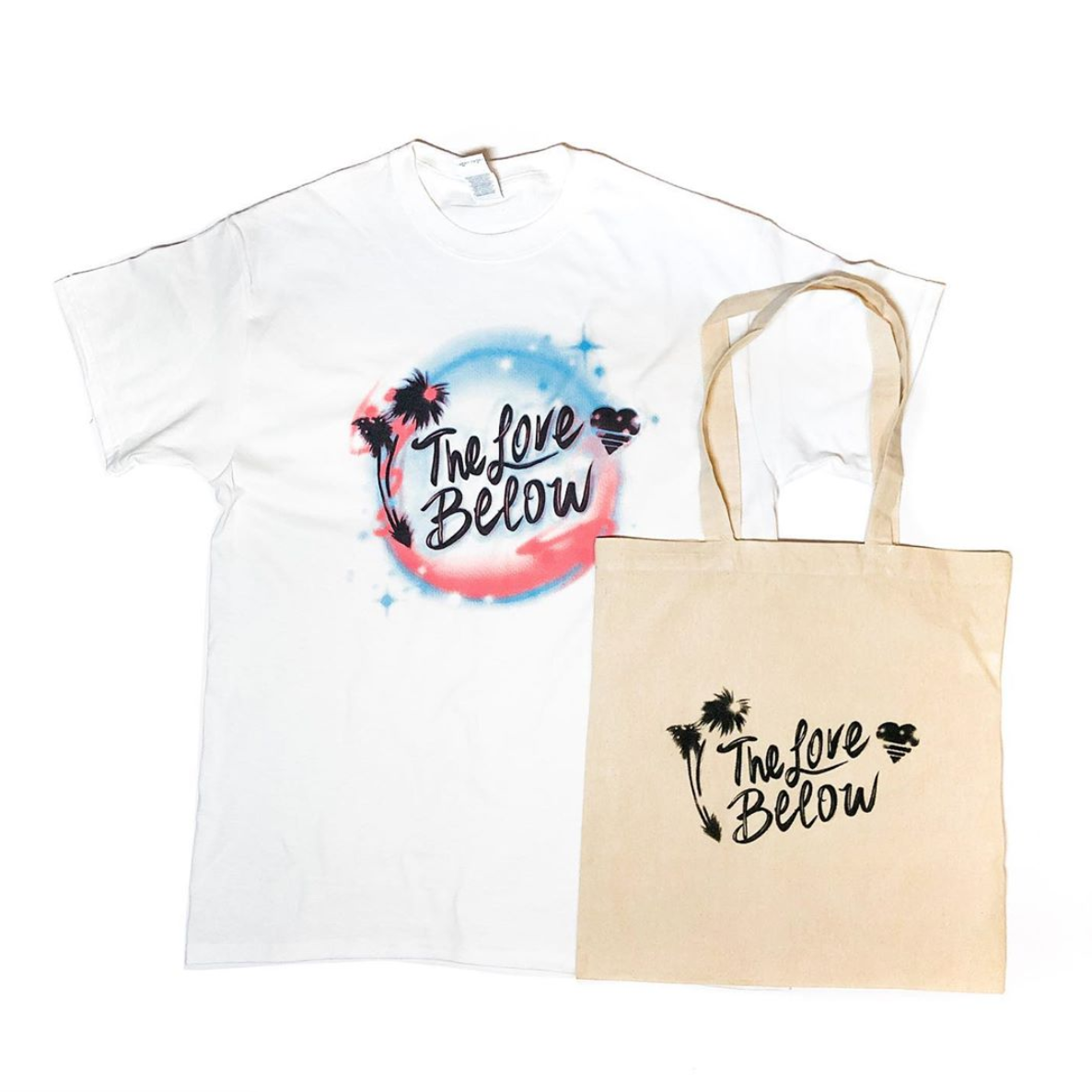 The Love Below 4 year anniversary Illustration on t-shirt and tote bag