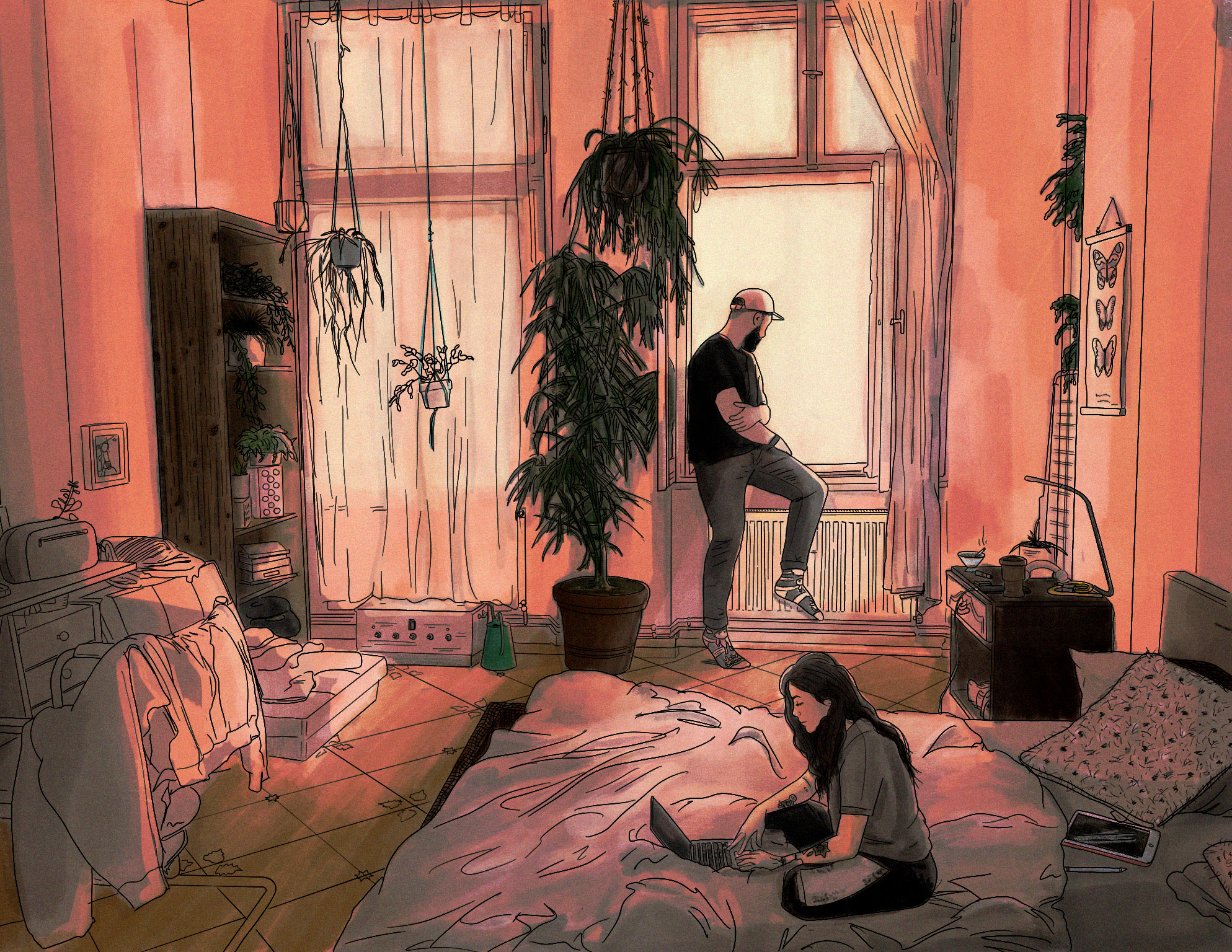 Illustration of a man and woman hanging out in their Berlin Flat