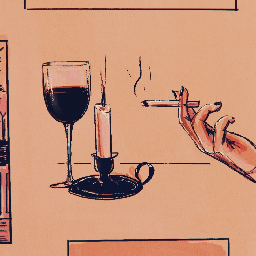 Illustration of a woman's hand smoking a cigarette, candle, and wine glass in the background