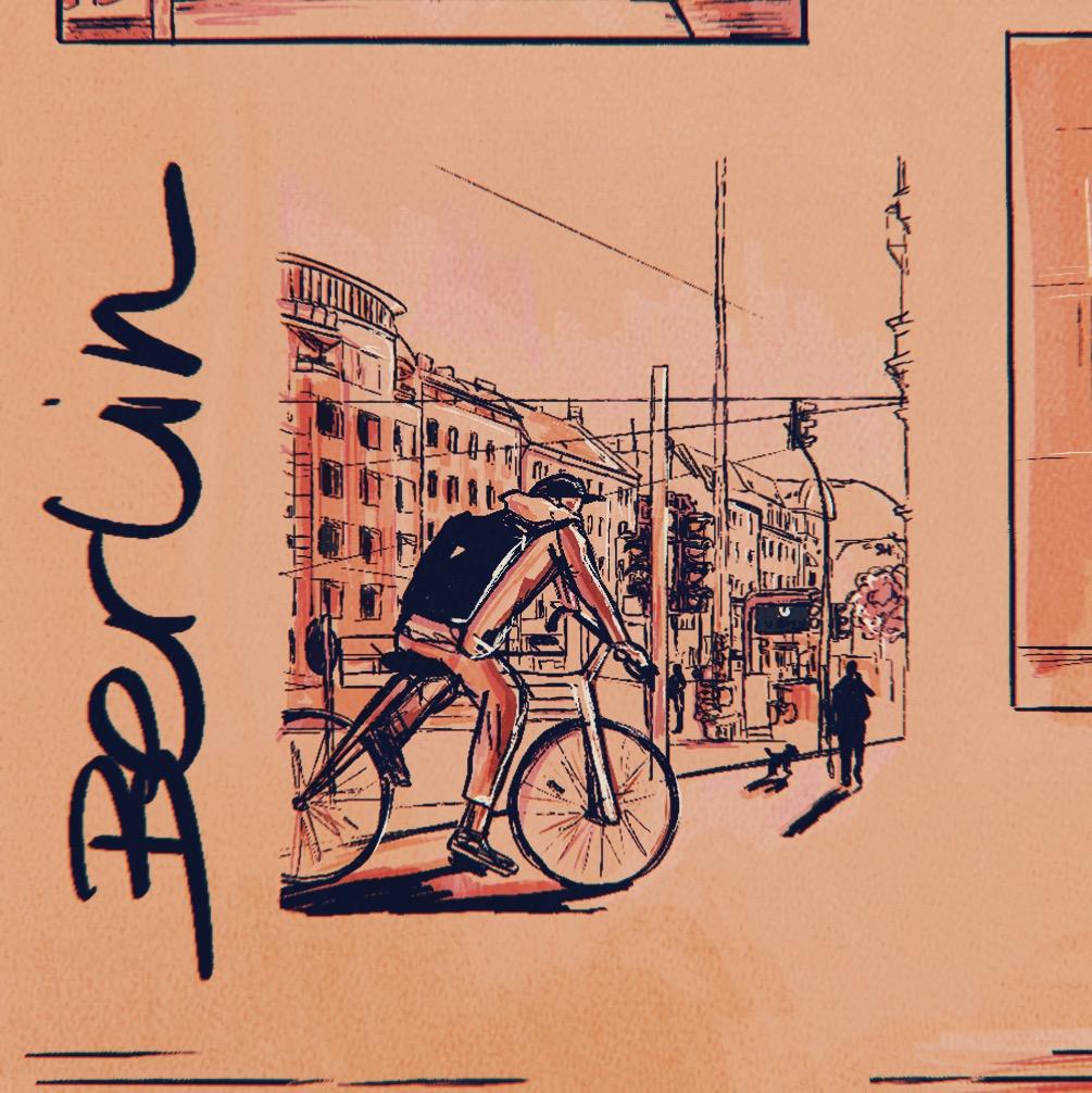 Illustration of guy riding bike in streets of Berlin