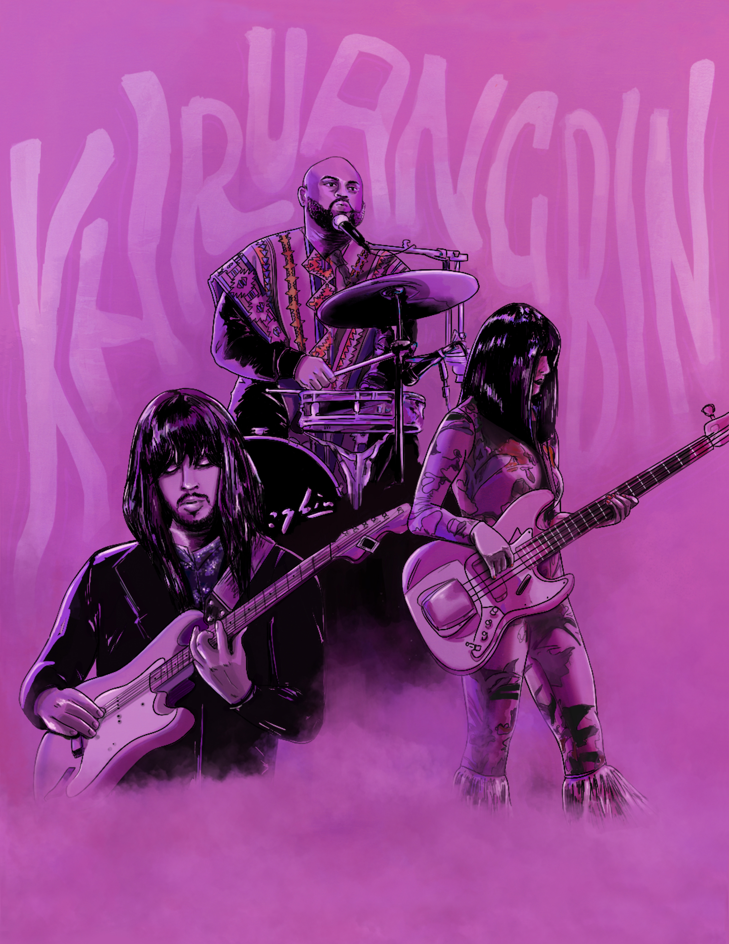 Illustration of trio band, Khruangbin with purple hue