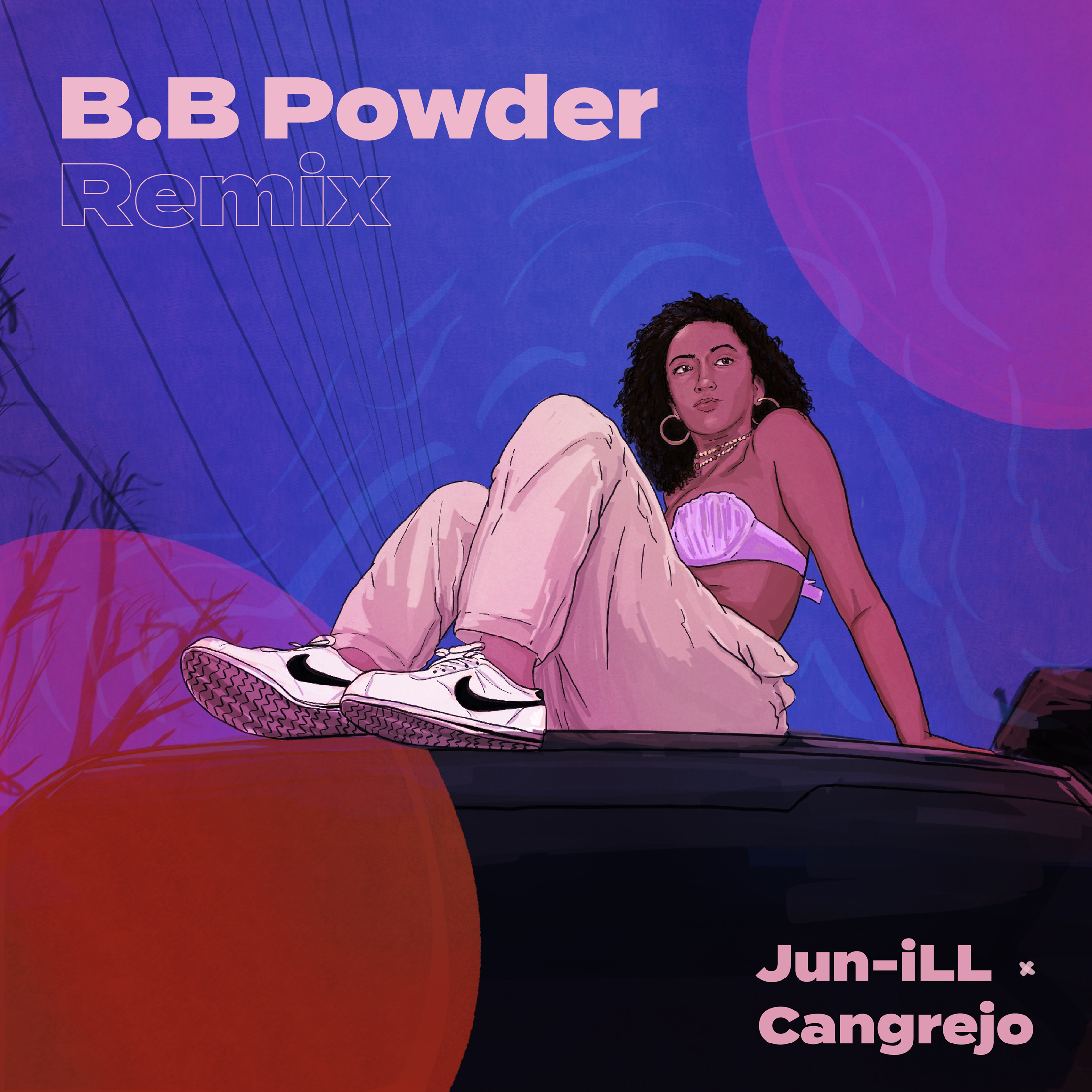 Illustration of Jenevieve sitting on top of a car for Mix by Jun-ill called BB Powder