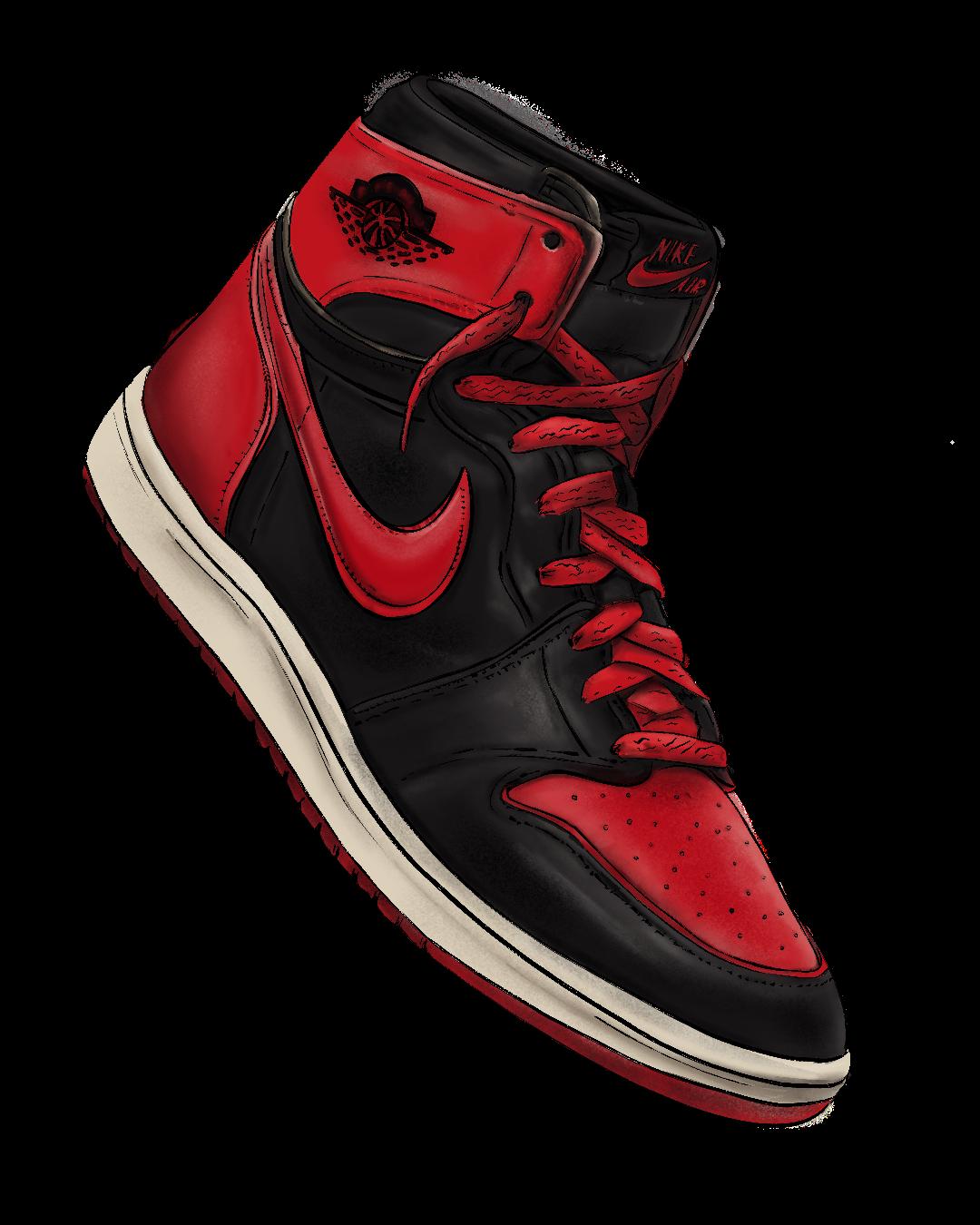 Illustrated Air Jordan 1 bred colorway