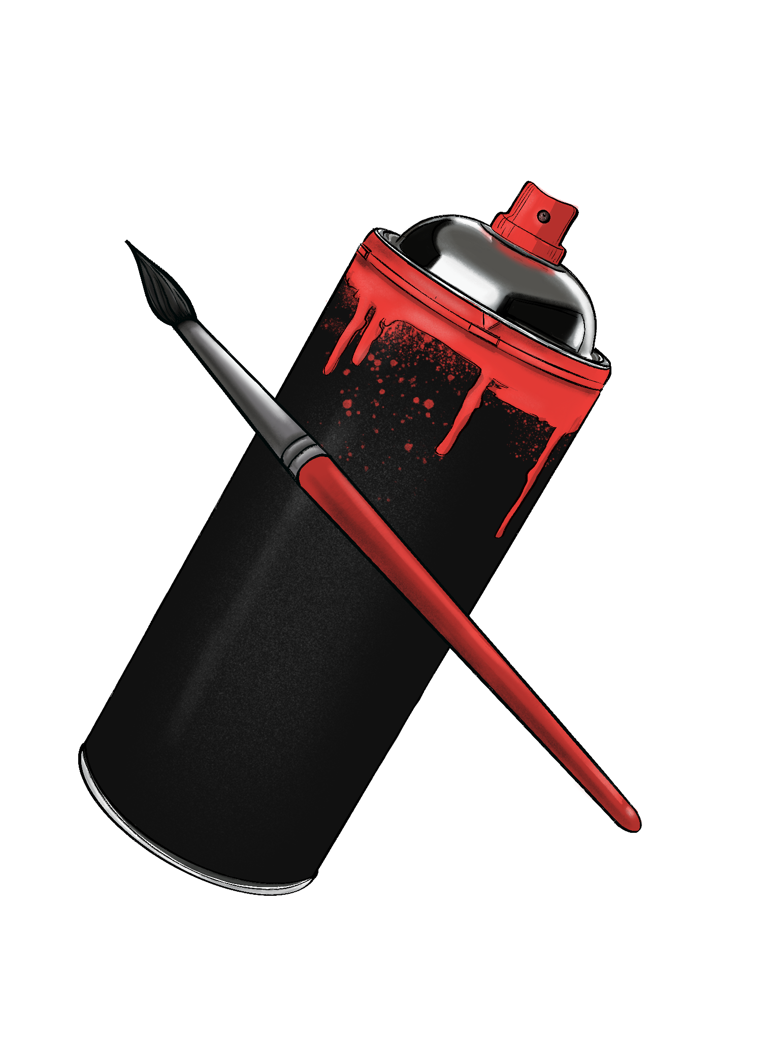 Illustrated spray paint can with a paint brush