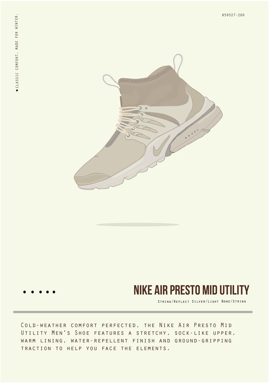 Nike presto mid sneaker illustration