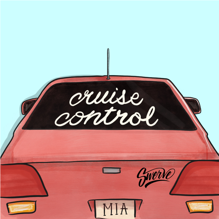 Pink car illustration with Cruise Control written in rear window for Swerve's playlist on Spotify