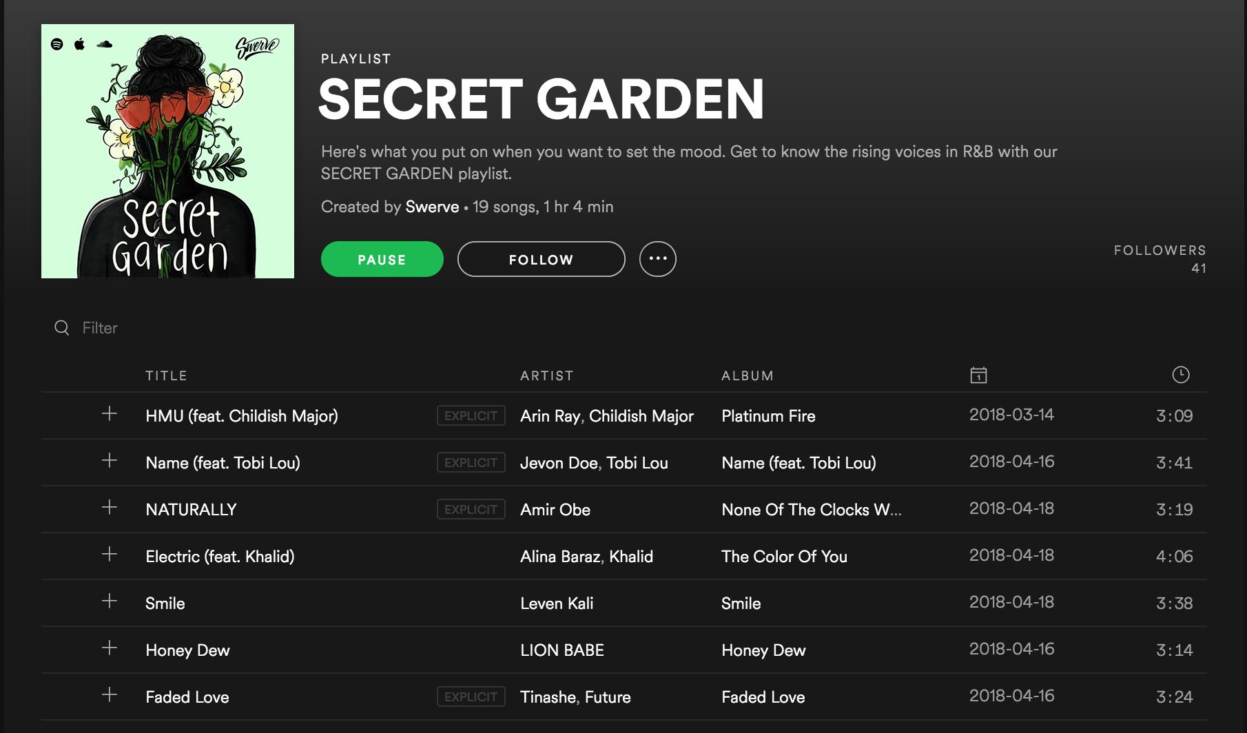 Screenshot of Secret Garden playlist on Spotify