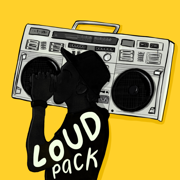 Silhoutte of guy holding a boombox with Playlist name, Loud pack written inside