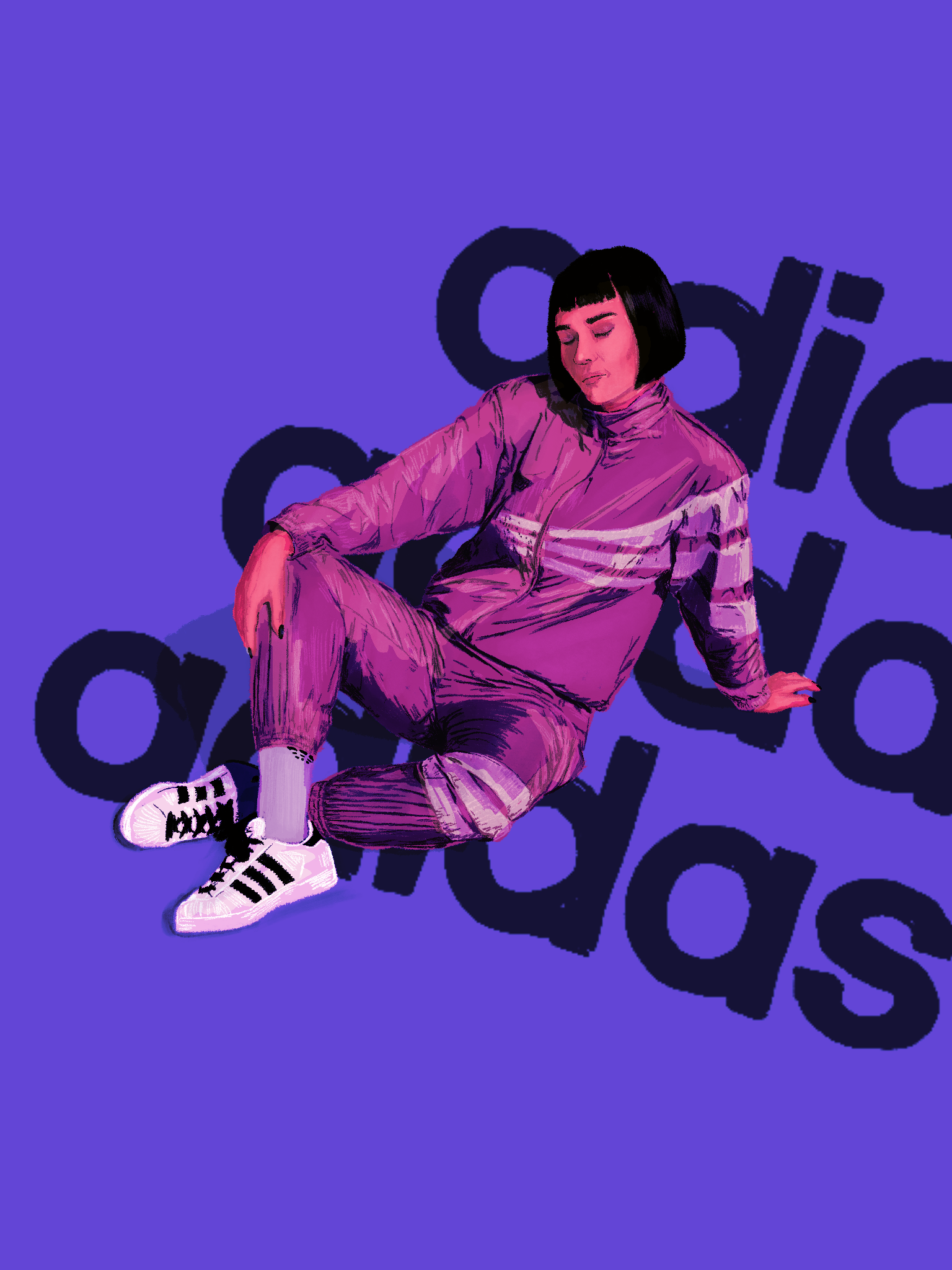 iIllustration of model, Armela Jakove for adidas