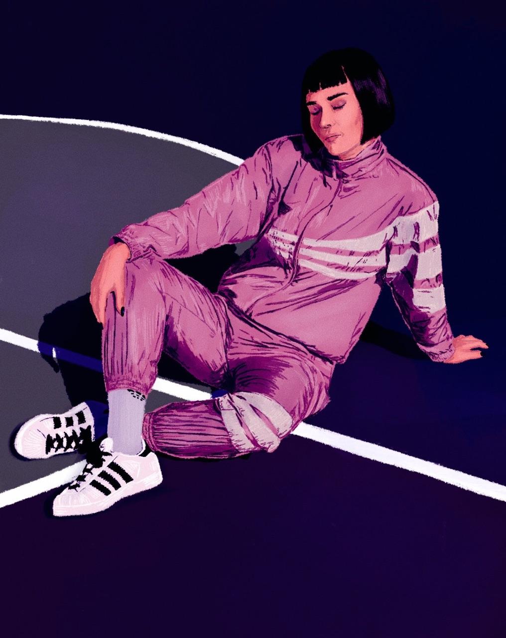 Illustration of model, Armela Jakove for foot locker with a dark blue background