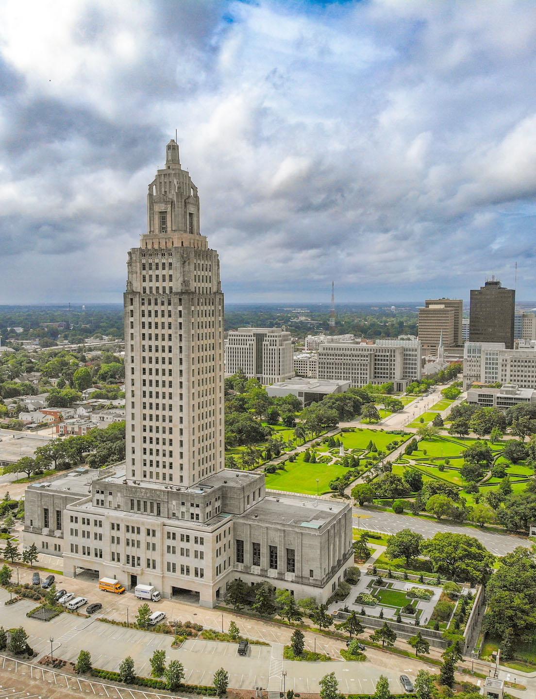 Aerial shot of the Louisiana State Capital