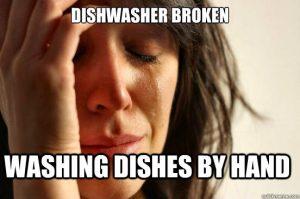 woman cries(dishwasher broken)