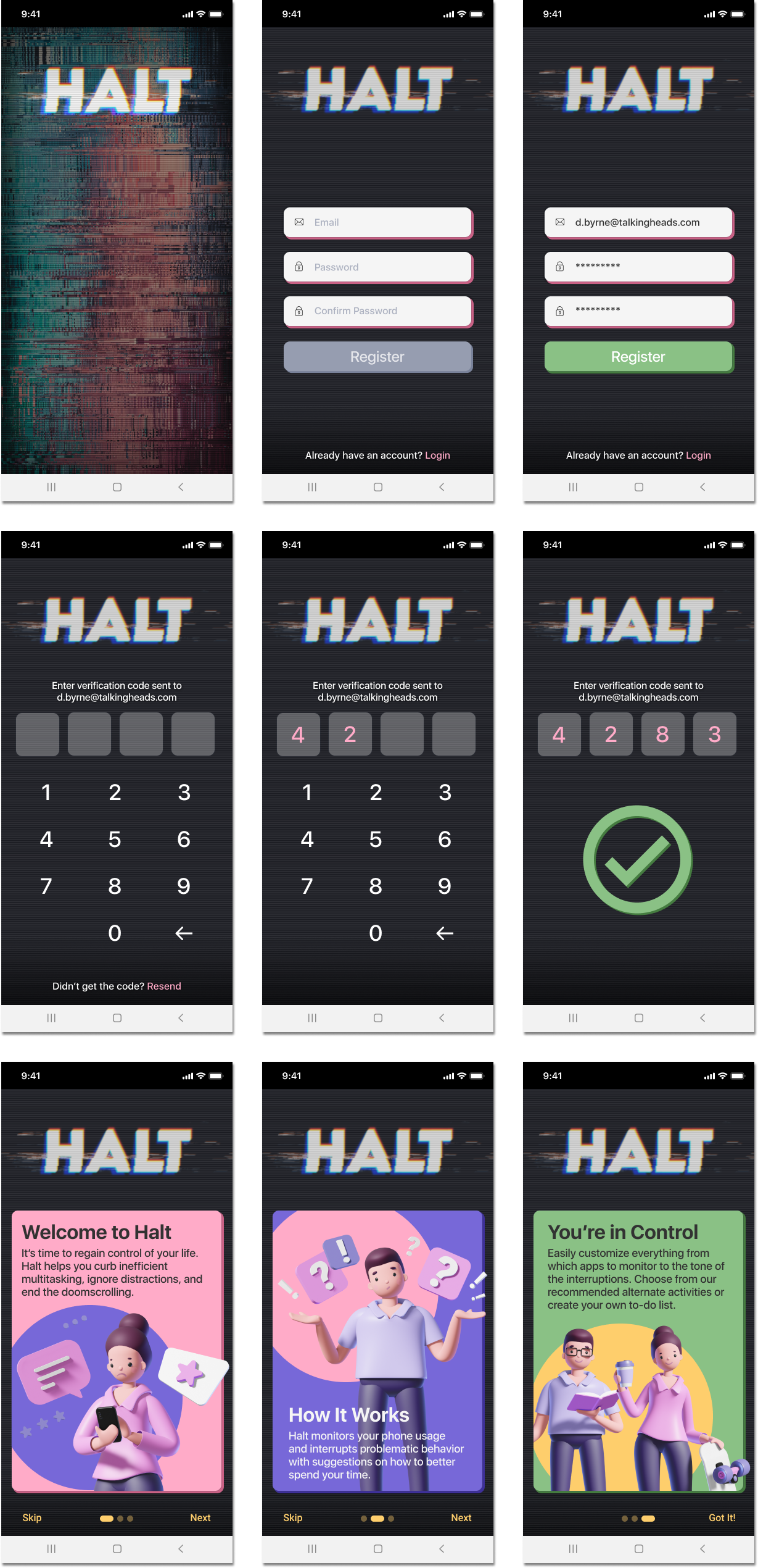 Screenshots of the Halt app