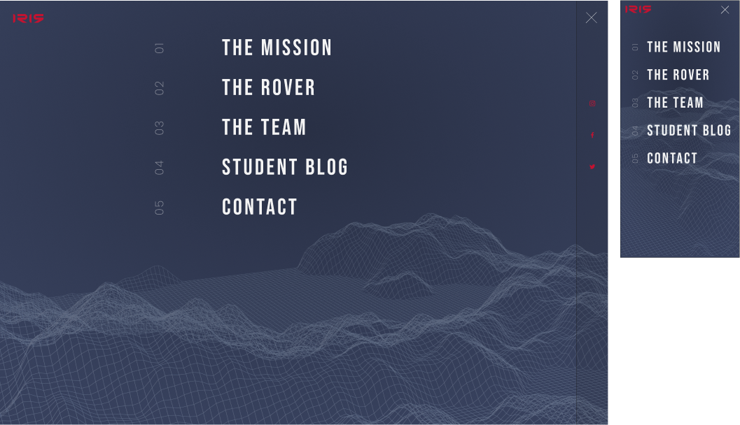 IRIS menu screenshot