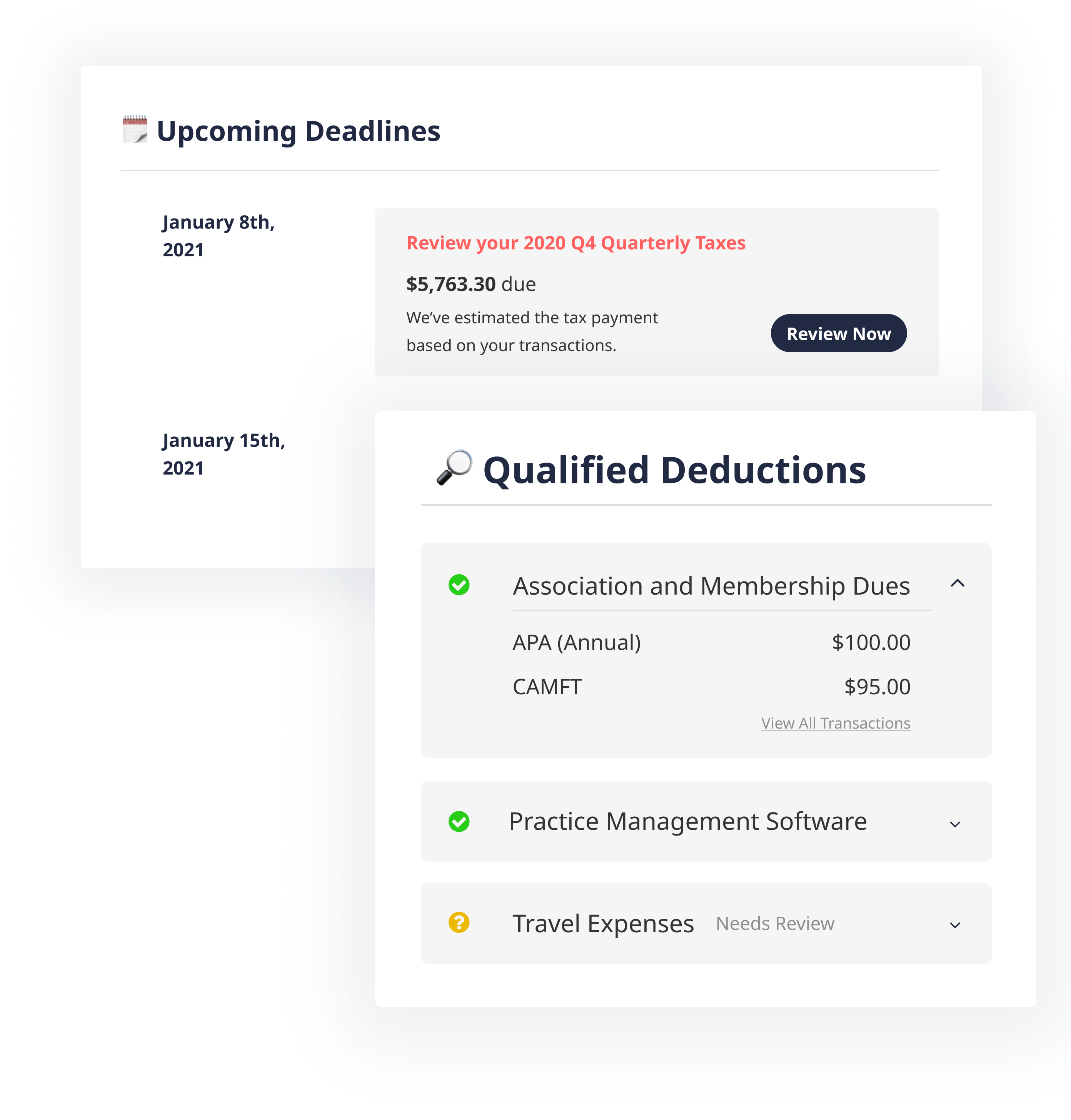 Deductions Feature