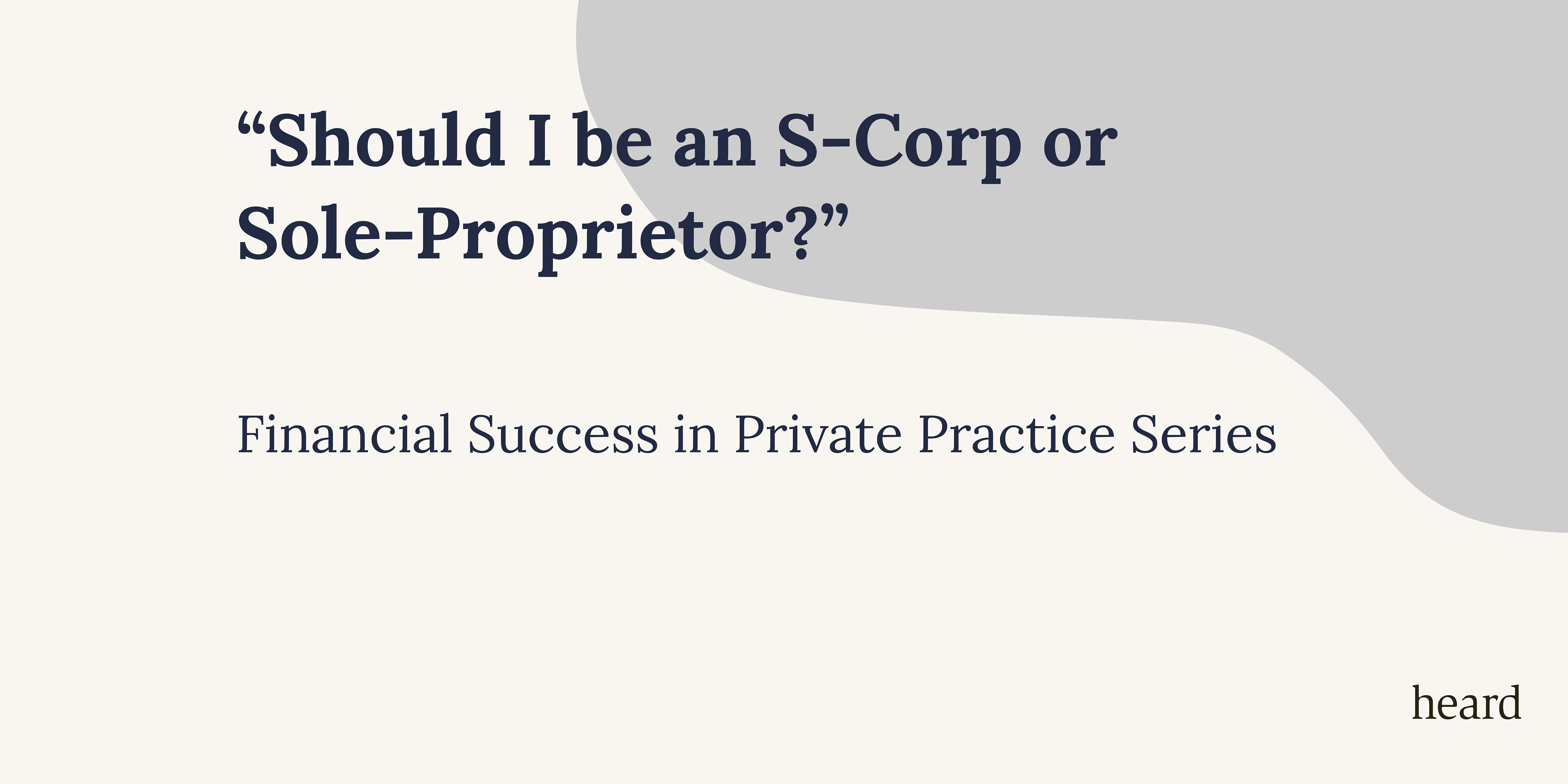 Financial Success Series: Should I be an S-Corp or a Sole-Proprietor?