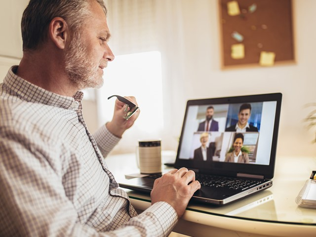 Man using video chat