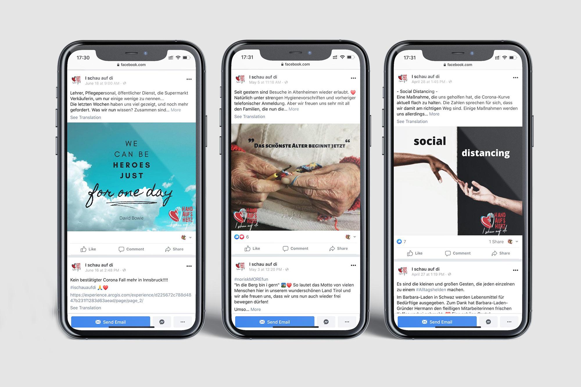 3 phones mockups showing facebook posts