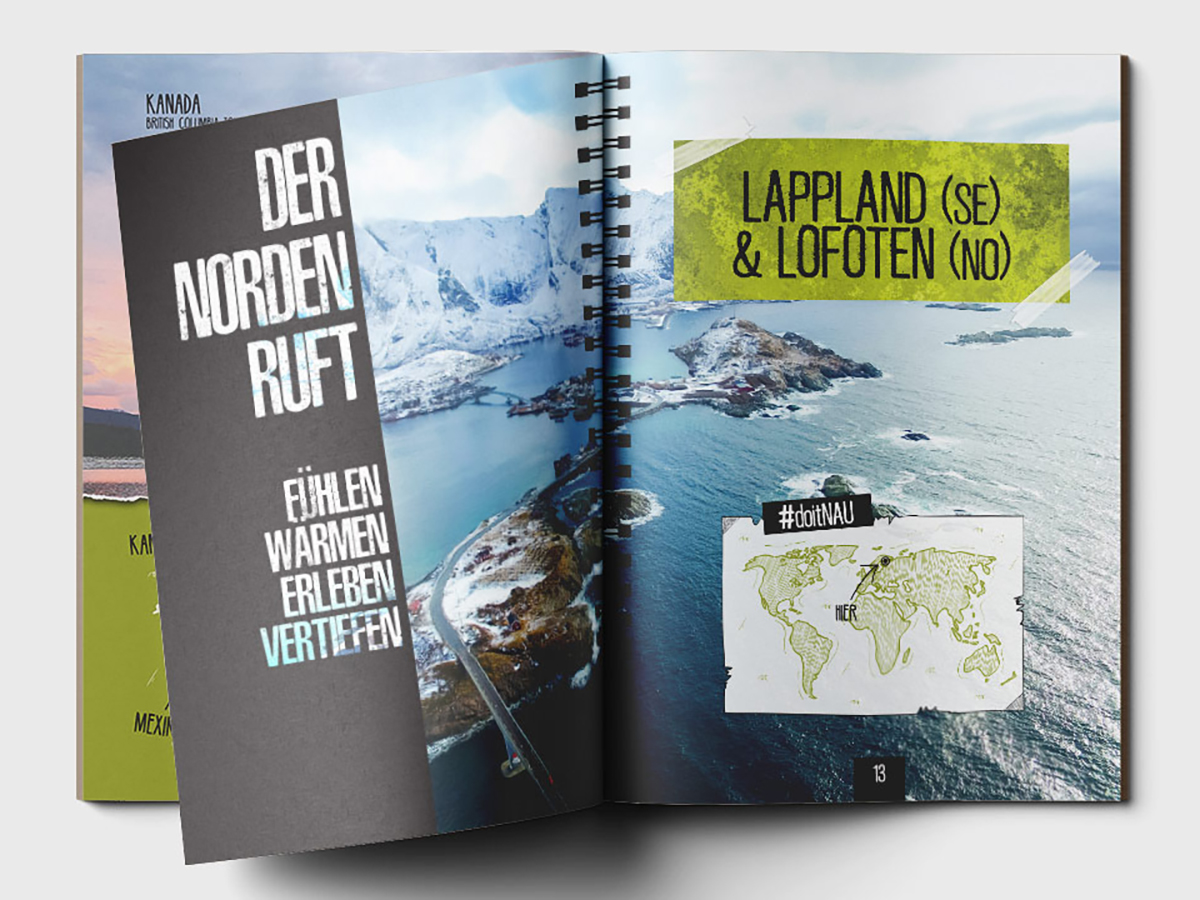 Opened journal with Lapland images