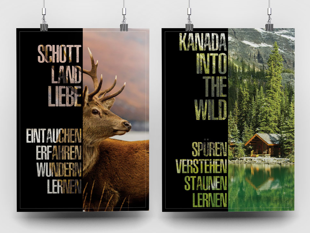 Handing posters with nature and deer